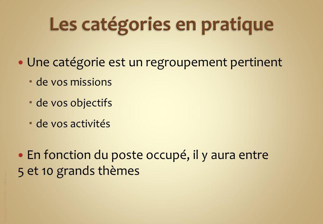 Dominique JACQUART – Juillet 2012 Une catégorie est un regroupement pertinent de vos missions de vos objectifs de vos activités En fonction du poste o