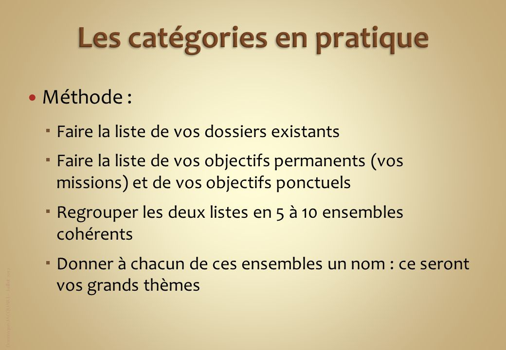 Dominique JACQUART – Juillet 2012 Méthode : Faire la liste de vos dossiers existants Faire la liste de vos objectifs permanents (vos missions) et de v