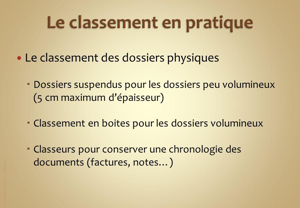 Dominique JACQUART – Juillet 2012 Le classement des dossiers physiques Dossiers suspendus pour les dossiers peu volumineux (5 cm maximum dépaisseur) C