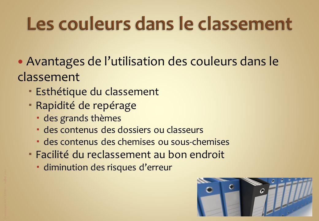 Dominique JACQUART – Juillet 2012 Avantages de lutilisation des couleurs dans le classement Esthétique du classement Rapidité de repérage des grands t
