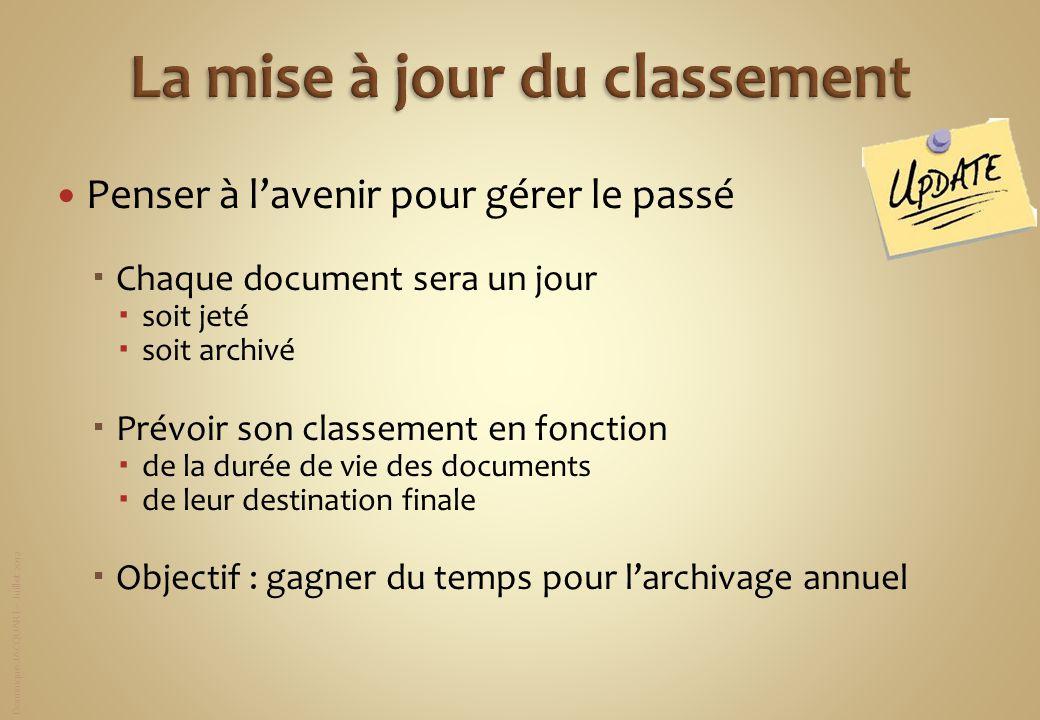 Dominique JACQUART – Juillet 2012 Penser à lavenir pour gérer le passé Chaque document sera un jour soit jeté soit archivé Prévoir son classement en f