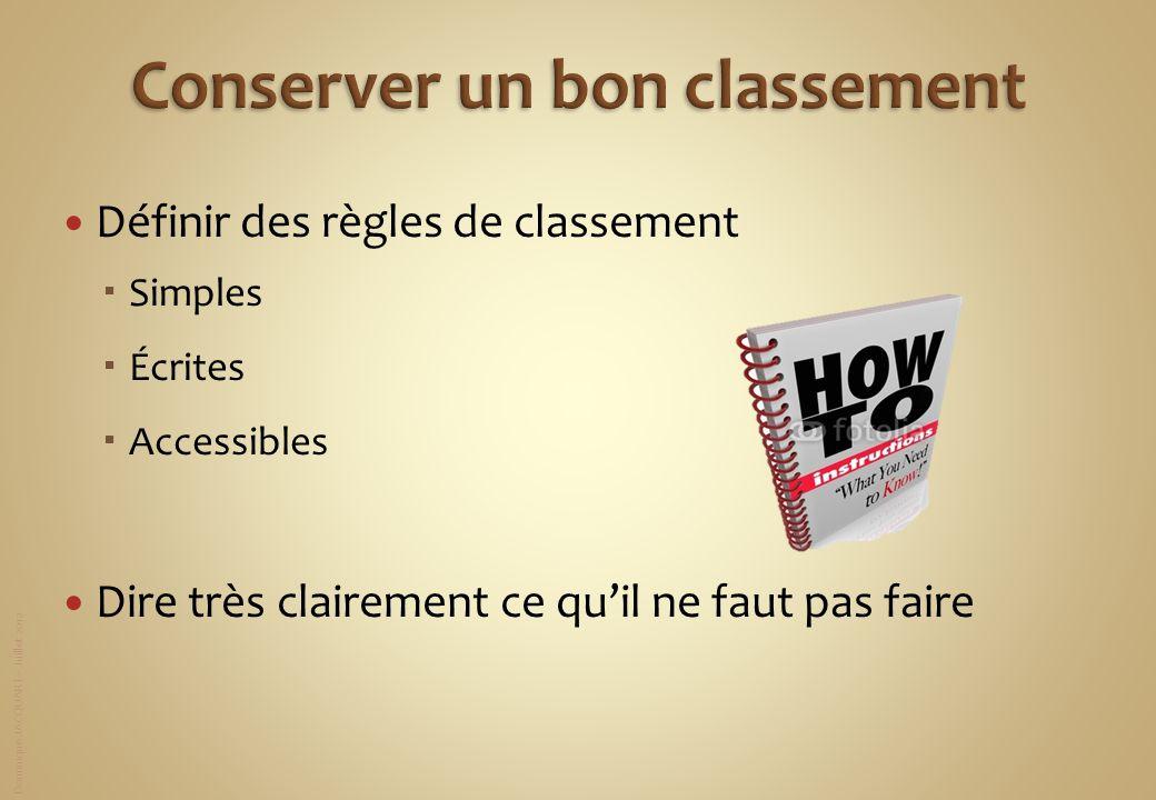 Dominique JACQUART – Juillet 2012 Définir des règles de classement Simples Écrites Accessibles Dire très clairement ce quil ne faut pas faire