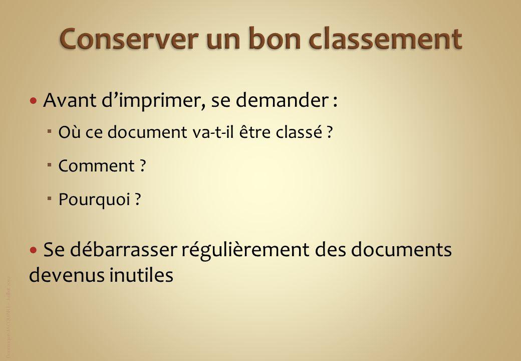 Dominique JACQUART – Juillet 2012 Avant dimprimer, se demander : Où ce document va-t-il être classé ? Comment ? Pourquoi ? Se débarrasser régulièremen