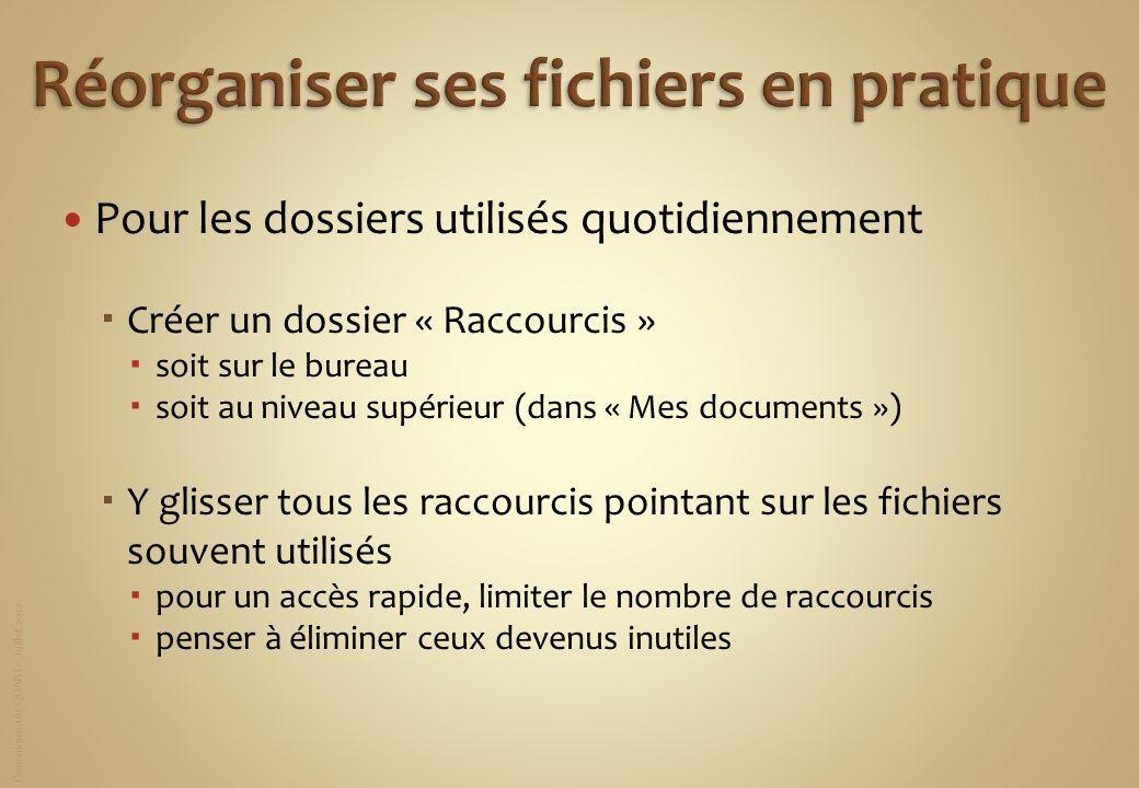 Dominique JACQUART – Juillet 2012 Pour les dossiers utilisés quotidiennement Créer un dossier « Raccourcis » soit sur le bureau soit au niveau supérie