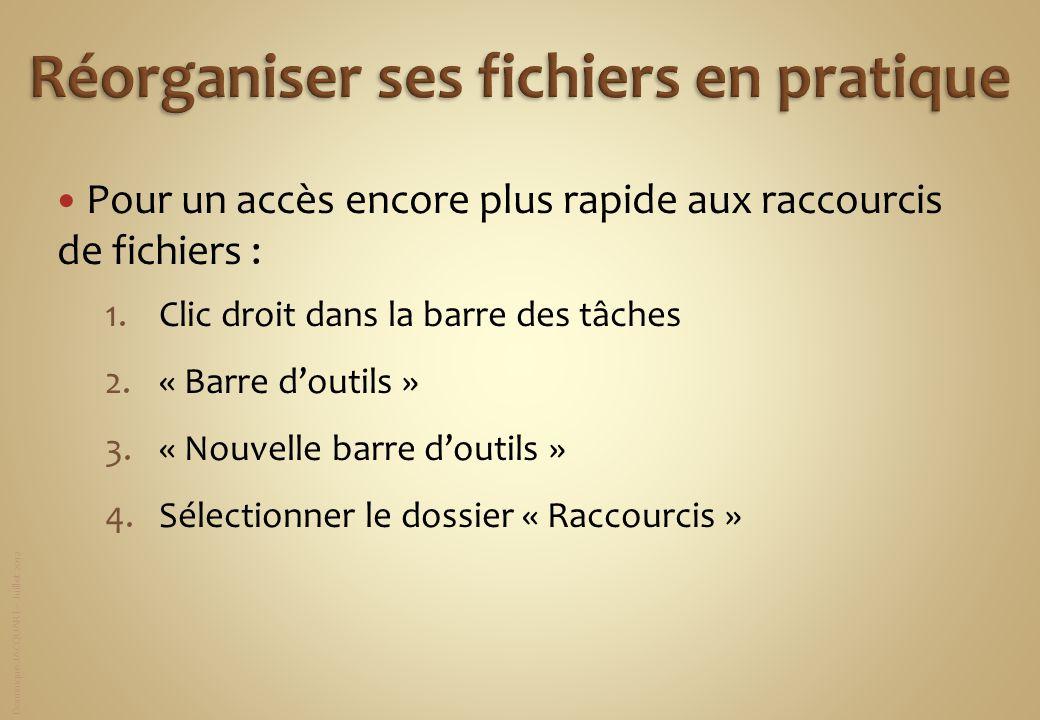 Dominique JACQUART – Juillet 2012 Pour un accès encore plus rapide aux raccourcis de fichiers : 1.Clic droit dans la barre des tâches 2.« Barre doutil