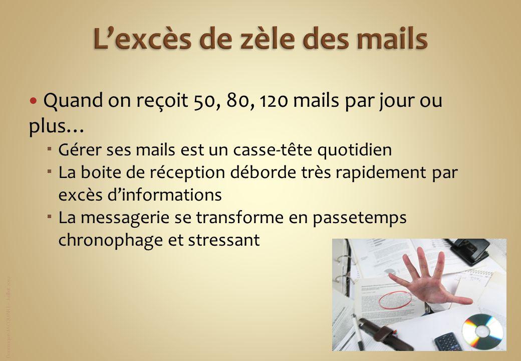 Dominique JACQUART – Juillet 2012 Quand on reçoit 50, 80, 120 mails par jour ou plus… Gérer ses mails est un casse-tête quotidien La boite de réceptio