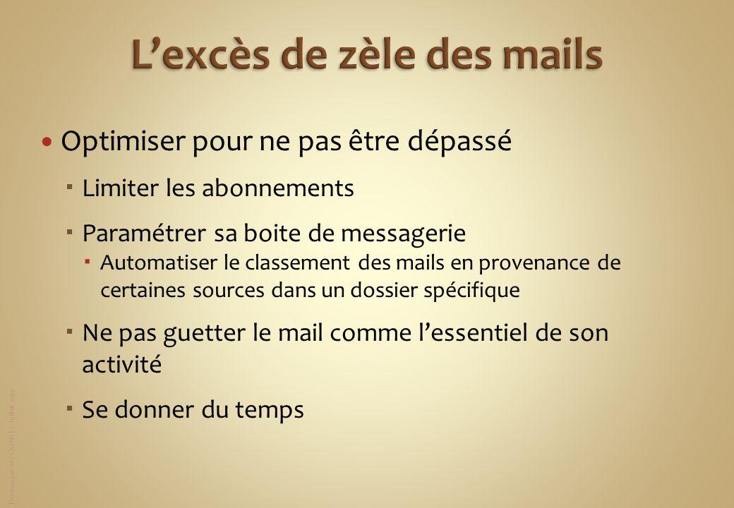 Dominique JACQUART – Juillet 2012 Optimiser pour ne pas être dépassé Limiter les abonnements Paramétrer sa boite de messagerie Automatiser le classeme