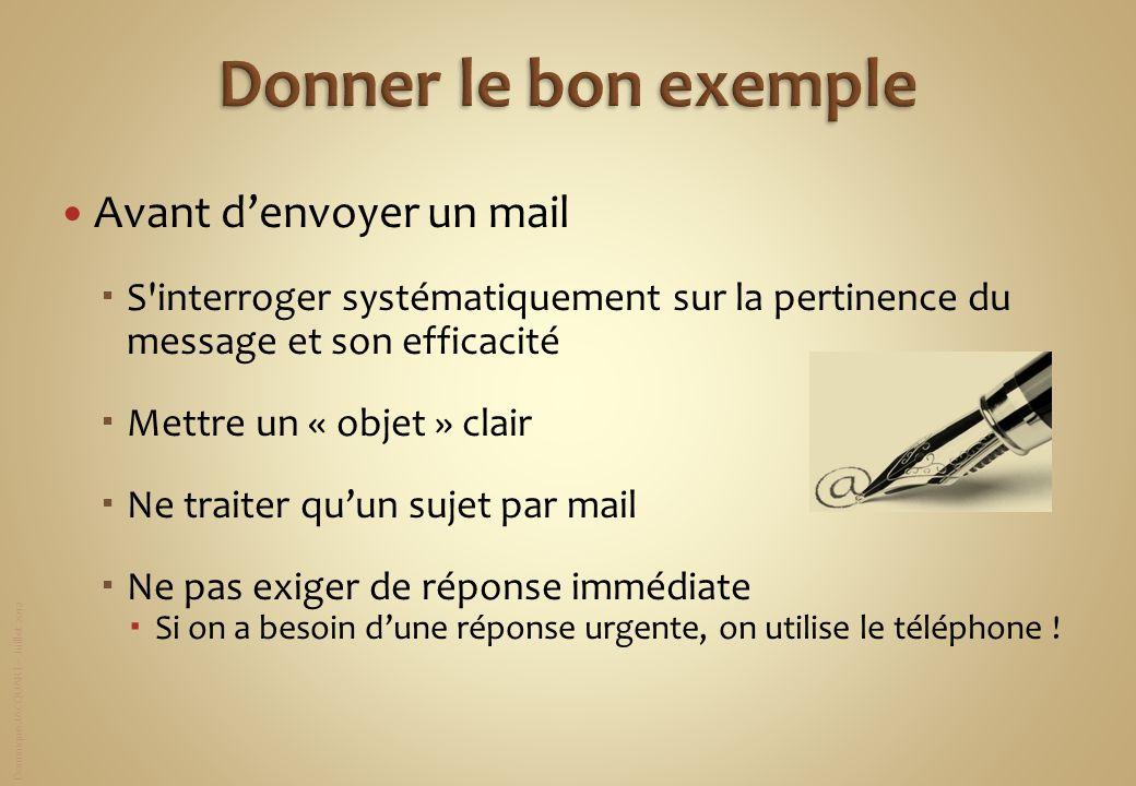 Dominique JACQUART – Juillet 2012 Avant denvoyer un mail S'interroger systématiquement sur la pertinence du message et son efficacité Mettre un « obje