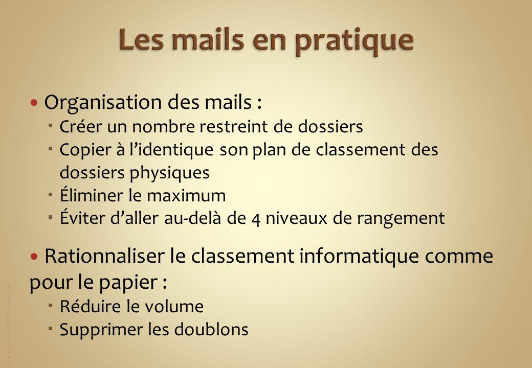 Dominique JACQUART – Juillet 2012 Organisation des mails : Créer un nombre restreint de dossiers Copier à lidentique son plan de classement des dossie