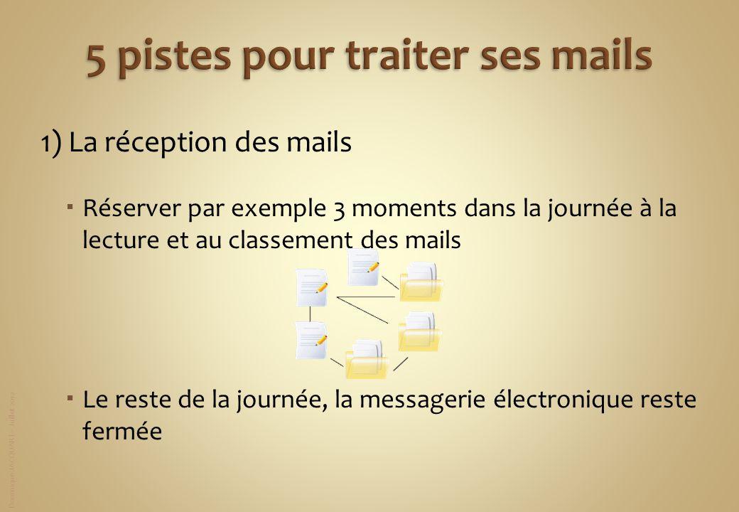 Dominique JACQUART – Juillet 2012 1) La réception des mails Réserver par exemple 3 moments dans la journée à la lecture et au classement des mails Le