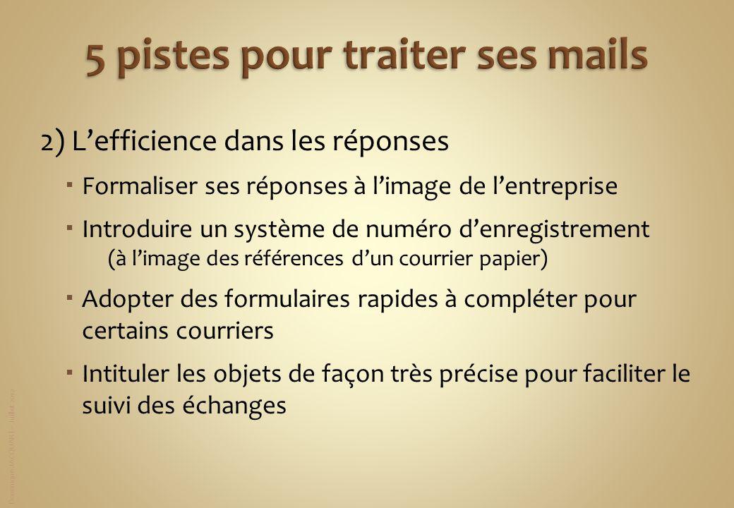 Dominique JACQUART – Juillet 2012 2) Lefficience dans les réponses Formaliser ses réponses à limage de lentreprise Introduire un système de numéro den