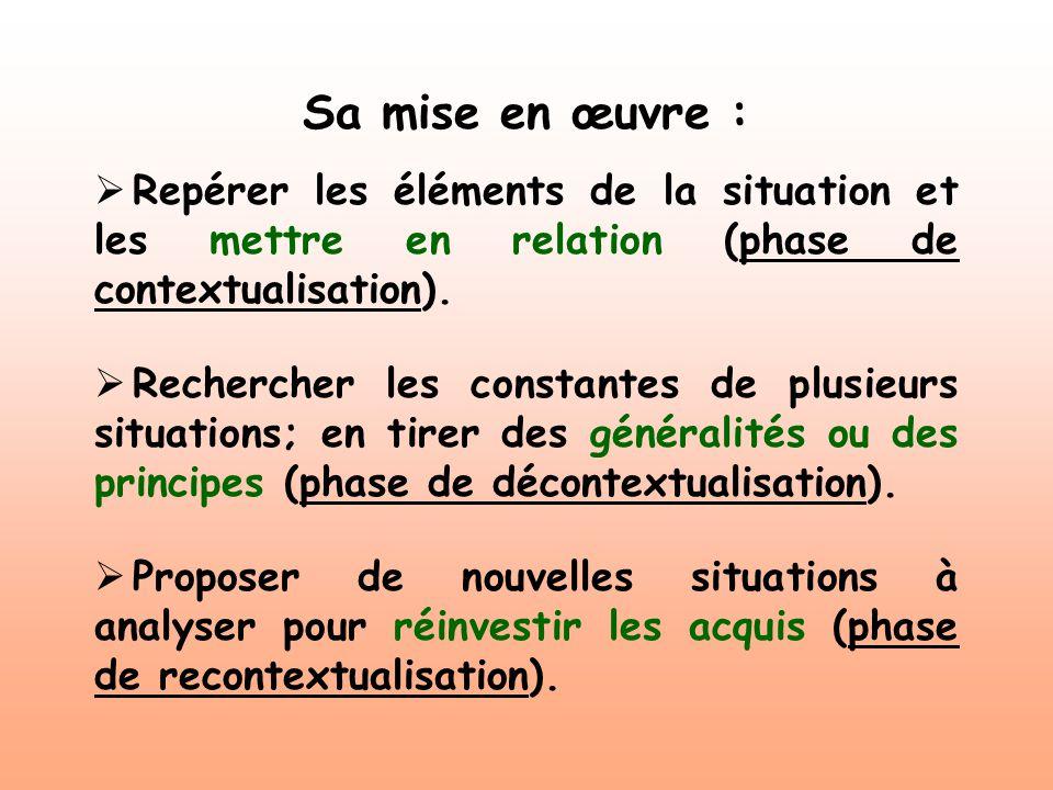 Sa mise en œuvre : Repérer les éléments de la situation et les mettre en relation (phase de contextualisation). Rechercher les constantes de plusieurs