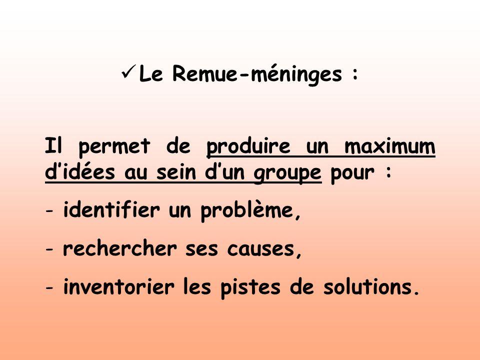 Le Remue-méninges : Il permet de produire un maximum didées au sein dun groupe pour : - identifier un problème, - rechercher ses causes, - inventorier