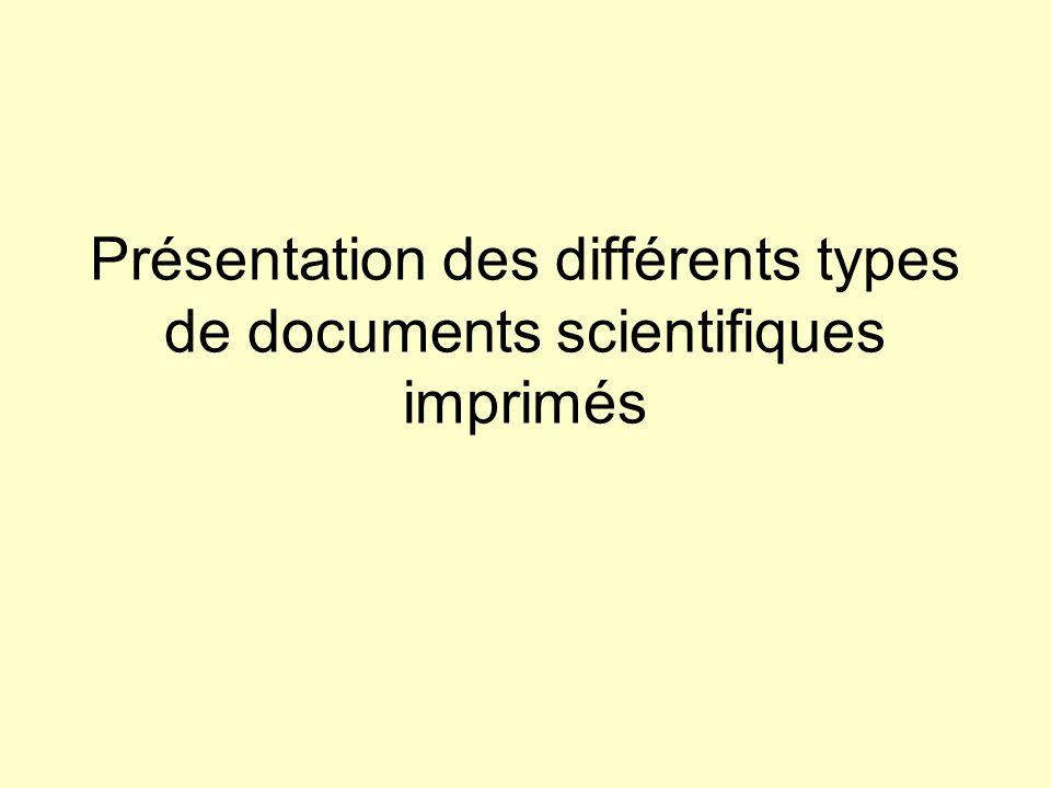 Présentation des différents types de documents scientifiques imprimés