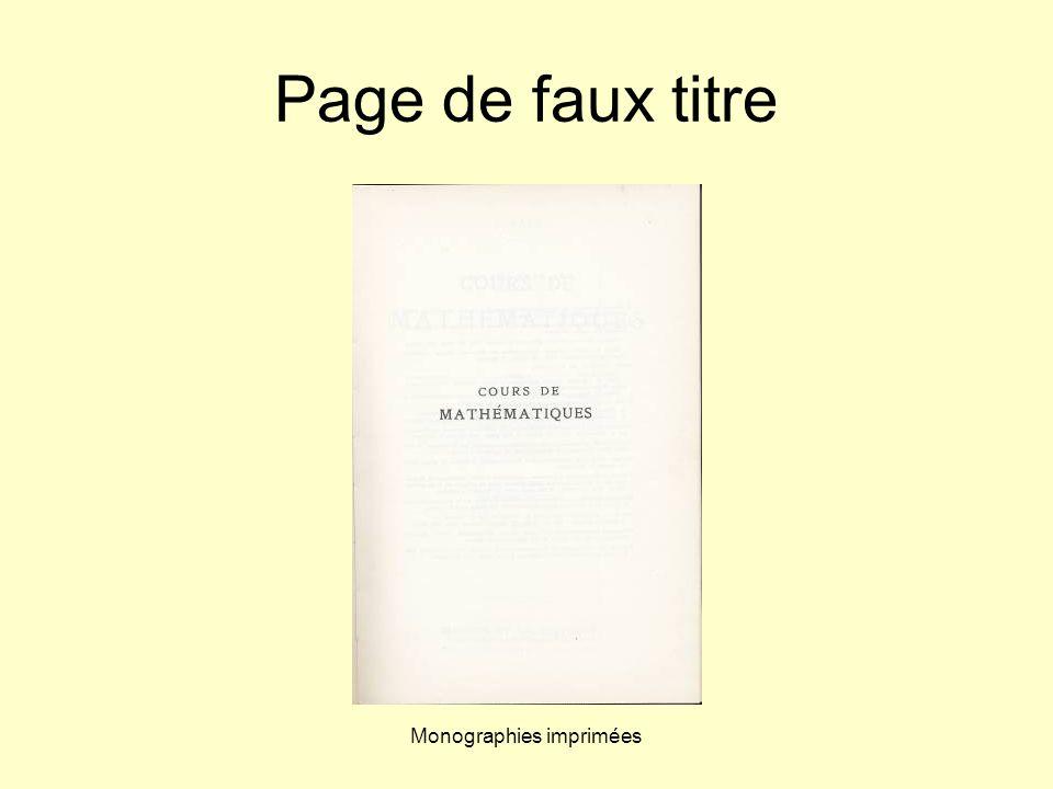 Monographies imprimées Page de faux titre