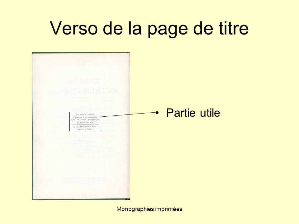 Monographies imprimées Verso de la page de titre Partie utile