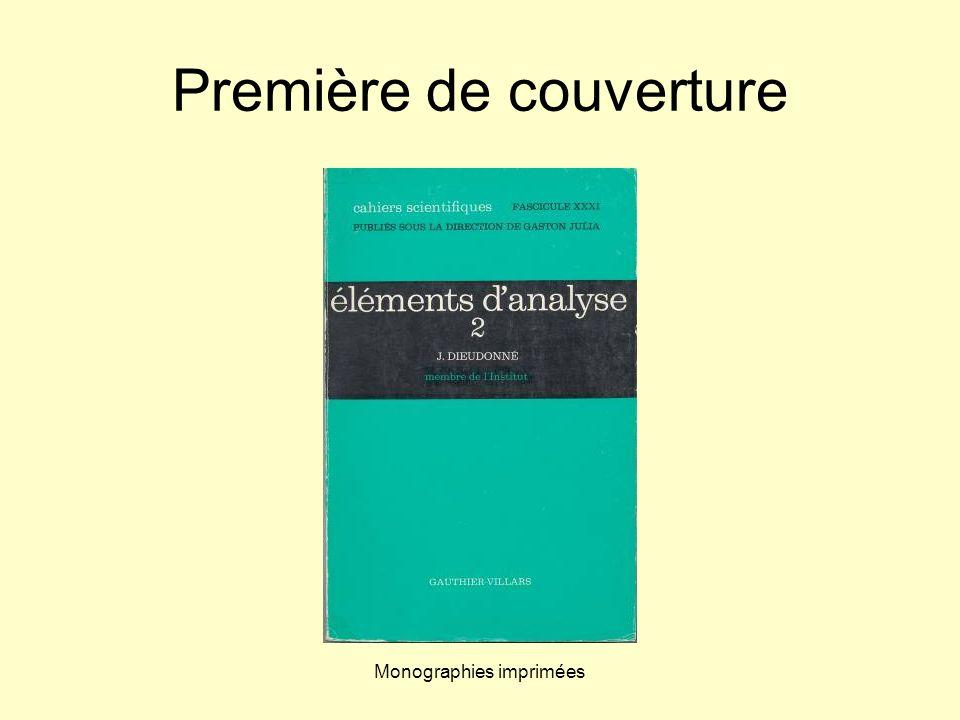 Monographies imprimées Première de couverture