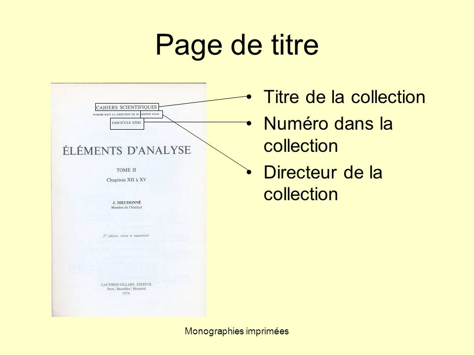 Monographies imprimées Page de titre Titre de la collection Numéro dans la collection Directeur de la collection