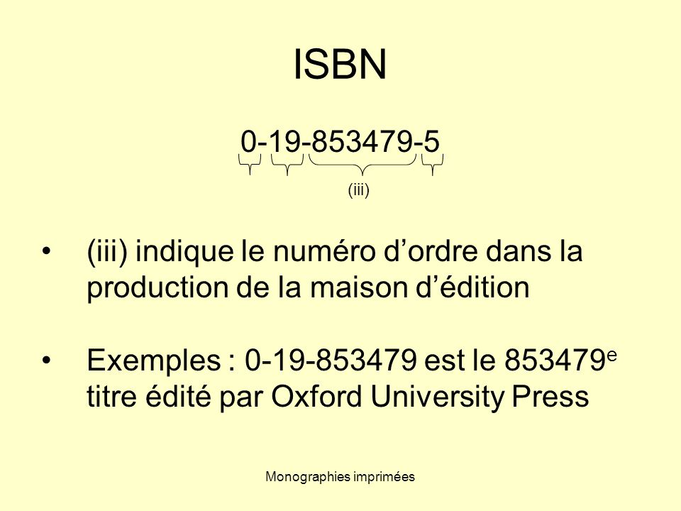 Monographies imprimées ISBN 0-19-853479-5 (iii) indique le numéro dordre dans la production de la maison dédition Exemples : 0-19-853479 est le 853479