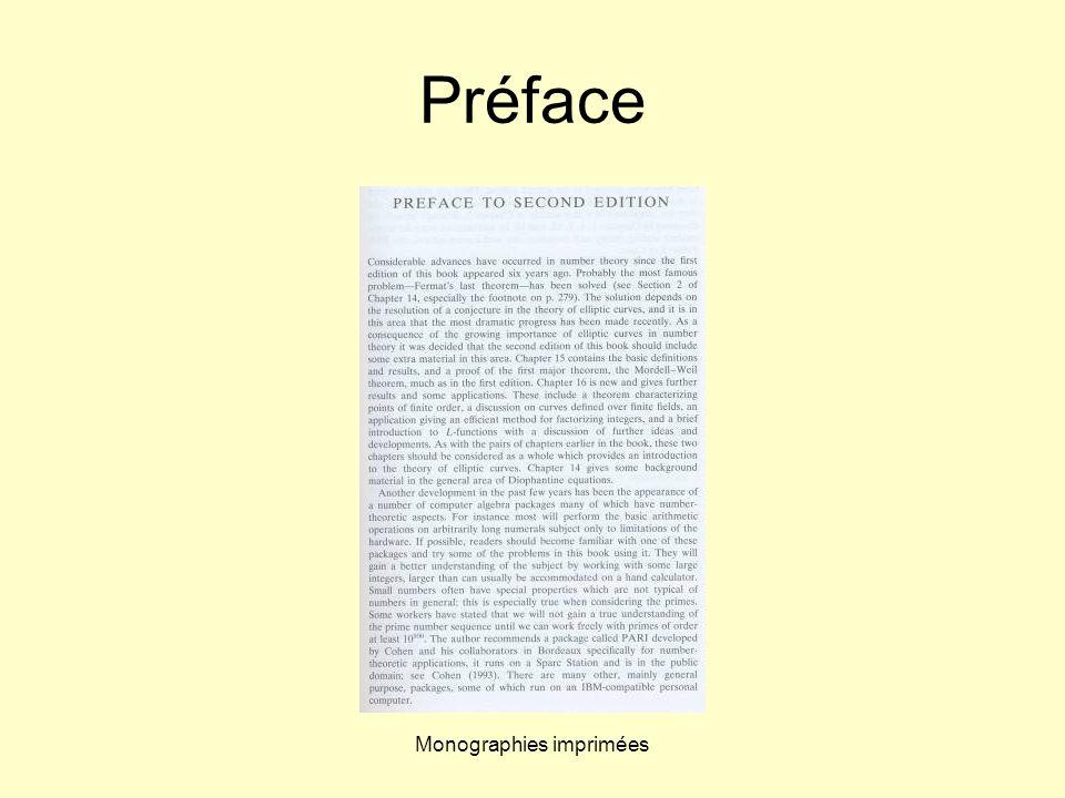 Monographies imprimées Préface