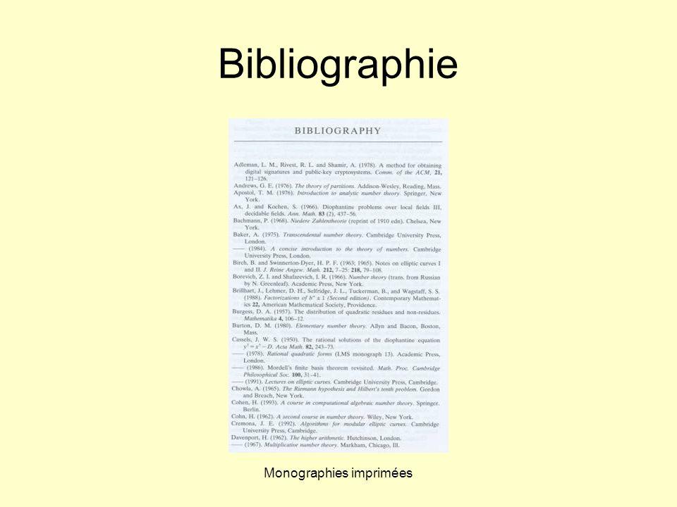 Monographies imprimées Bibliographie
