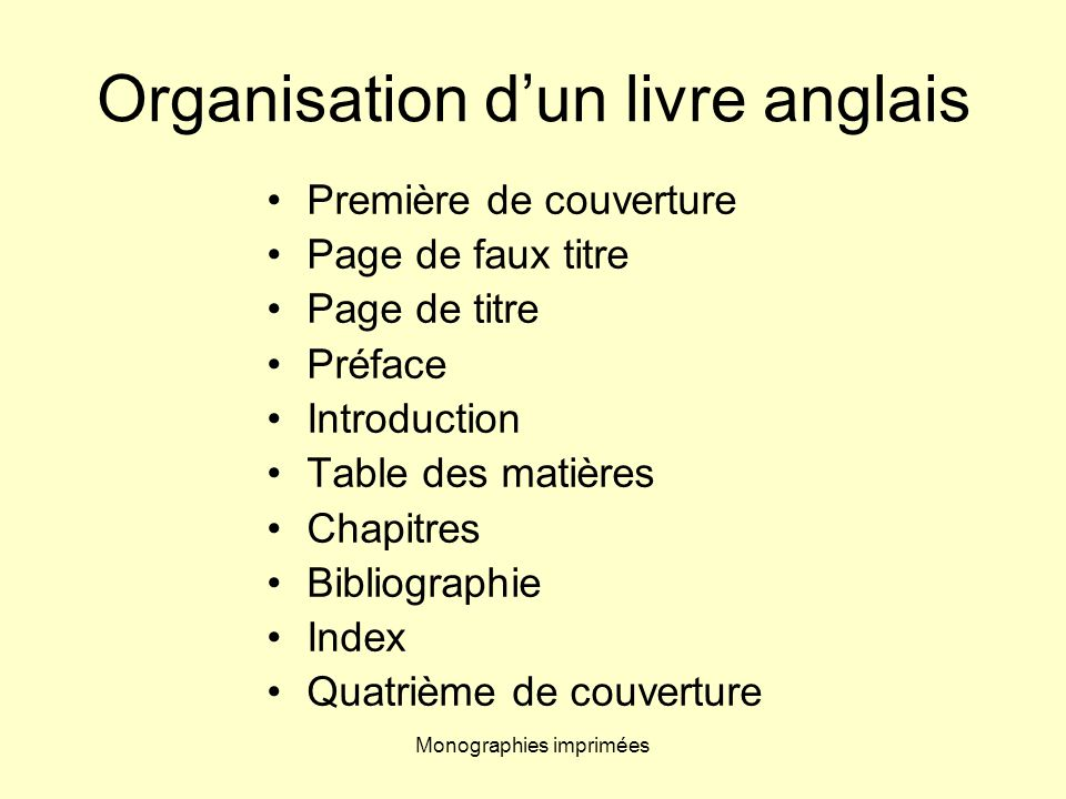 Monographies imprimées Organisation dun livre anglais Première de couverture Page de faux titre Page de titre Préface Introduction Table des matières
