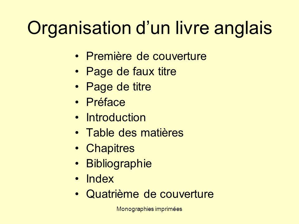 Monographies imprimées Index