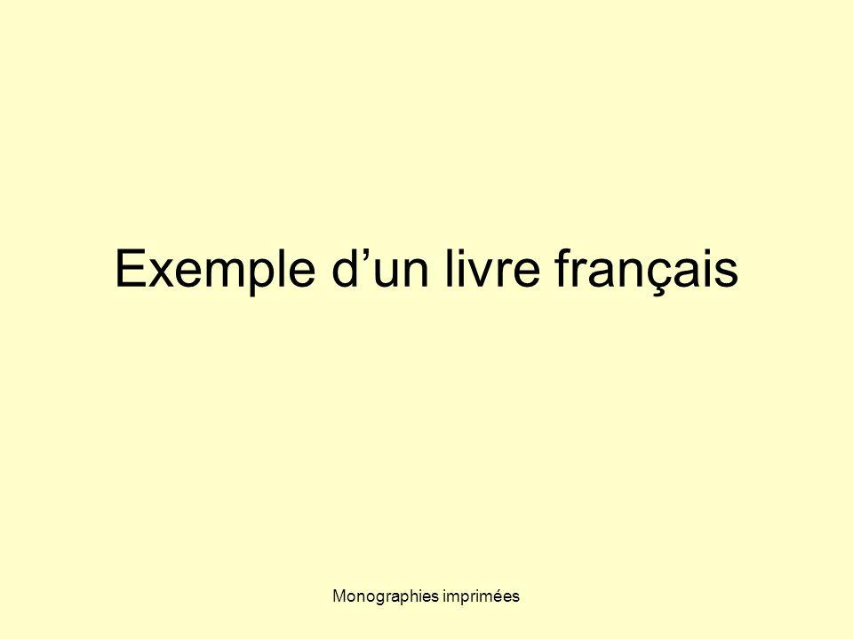 Monographies imprimées Exemple dun livre français