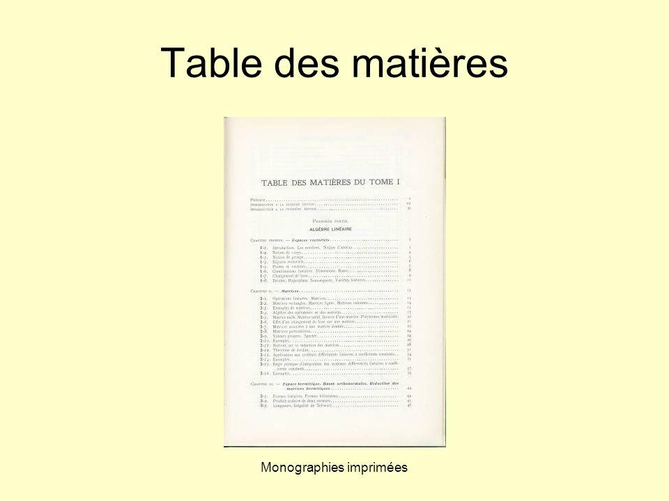 Monographies imprimées Table des matières