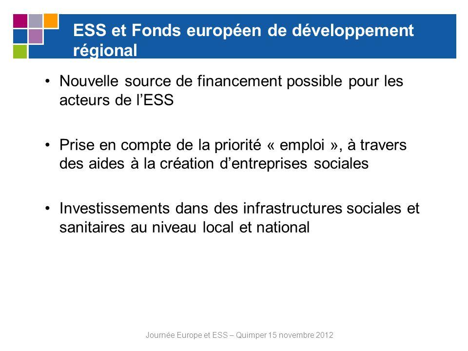 ESS et Fonds européen de développement régional Nouvelle source de financement possible pour les acteurs de lESS Prise en compte de la priorité « empl