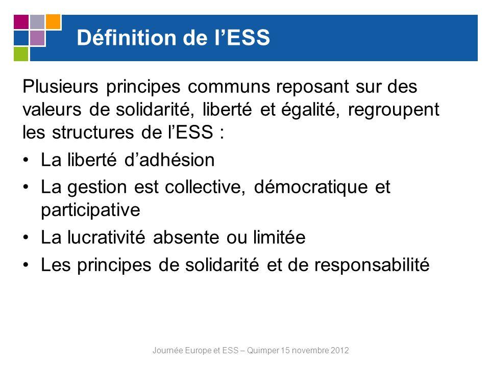 Définition de lESS Plusieurs principes communs reposant sur des valeurs de solidarité, liberté et égalité, regroupent les structures de lESS : La libe