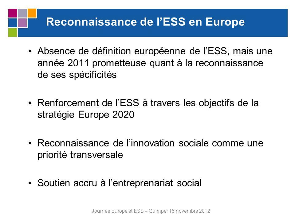 Reconnaissance de lESS en Europe Absence de définition européenne de lESS, mais une année 2011 prometteuse quant à la reconnaissance de ses spécificit