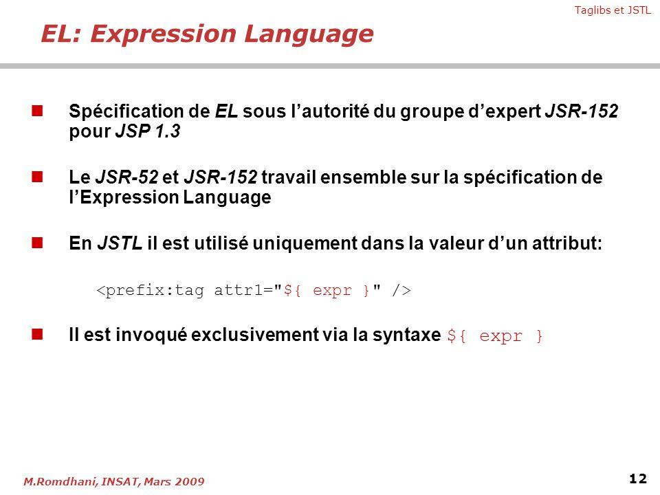 Taglibs et JSTL 12 M.Romdhani, INSAT, Mars 2009 Spécification de EL sous lautorité du groupe dexpert JSR-152 pour JSP 1.3 Le JSR-52 et JSR-152 travail