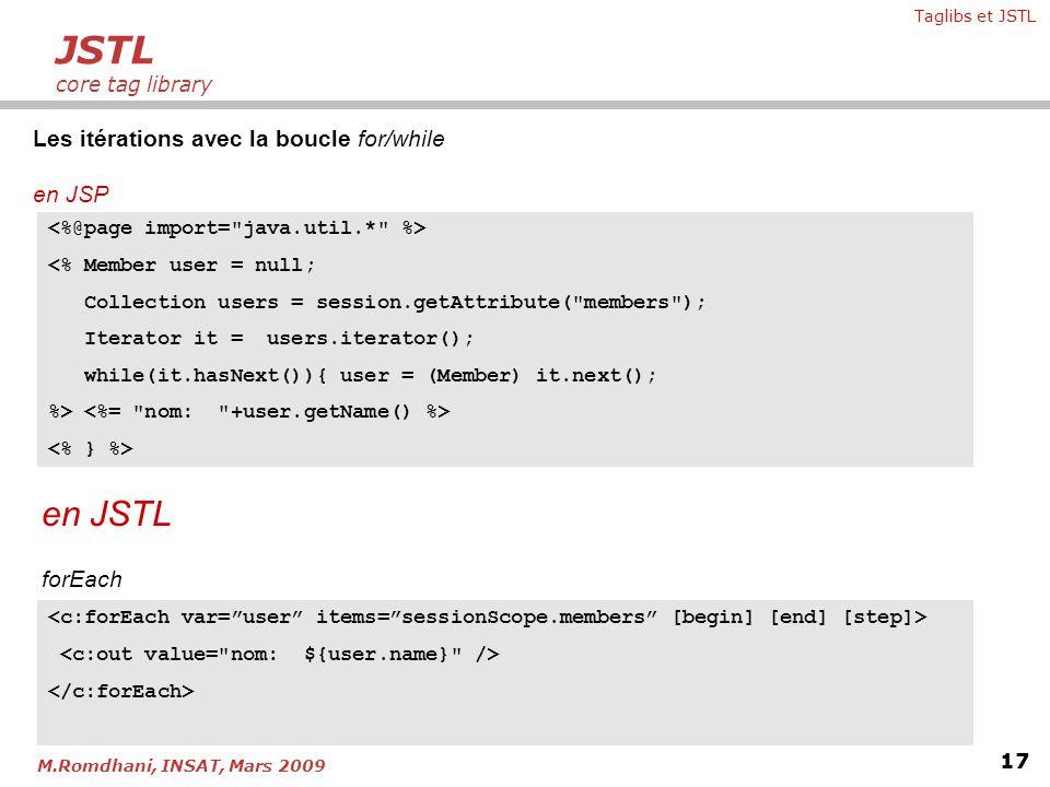 Taglibs et JSTL 17 M.Romdhani, INSAT, Mars 2009 Les itérations avec la boucle for/while en JSP JSTL core tag library <% Member user = null; Collection