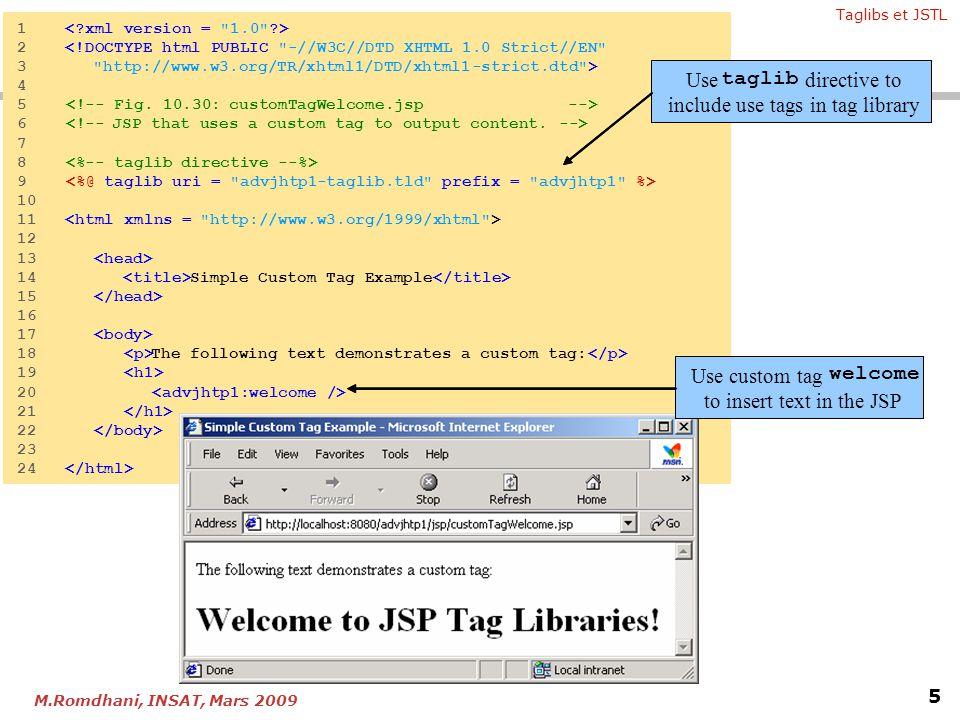 Taglibs et JSTL 5 M.Romdhani, INSAT, Mars 2009 Fig. 10.30 JSP 1<?xml version =