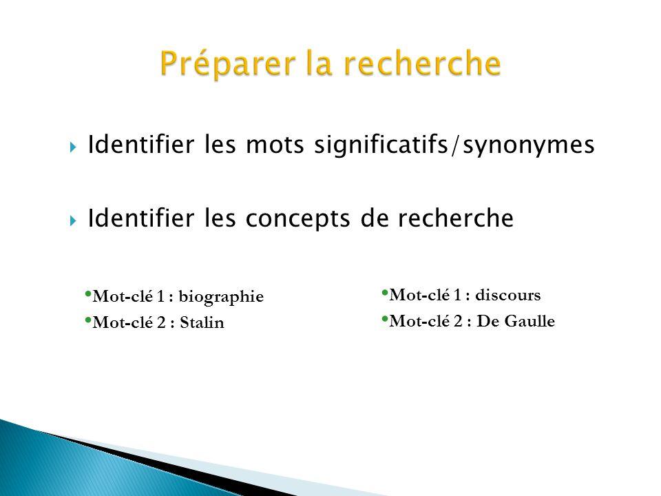 Identifier les mots significatifs/synonymes Identifier les concepts de recherche Mot-clé 1 : biographie Mot-clé 2 : Stalin Mot-clé 1 : discours Mot-cl