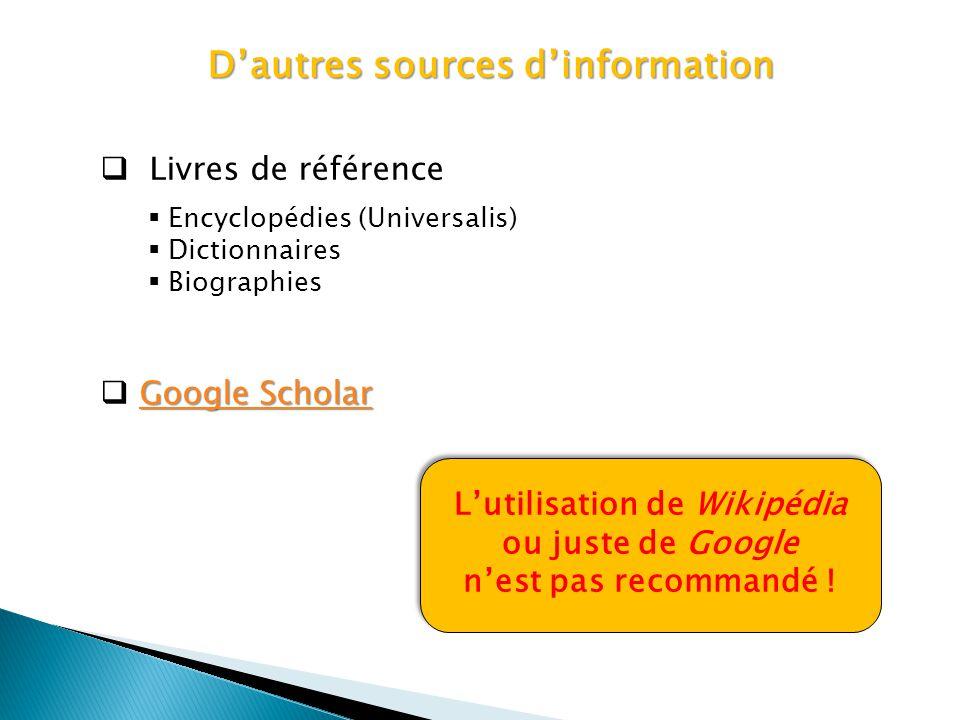 Dautres sources dinformation Livres de référence Encyclopédies (Universalis) Dictionnaires Biographies Google Scholar Google Scholar Google Scholar Lu