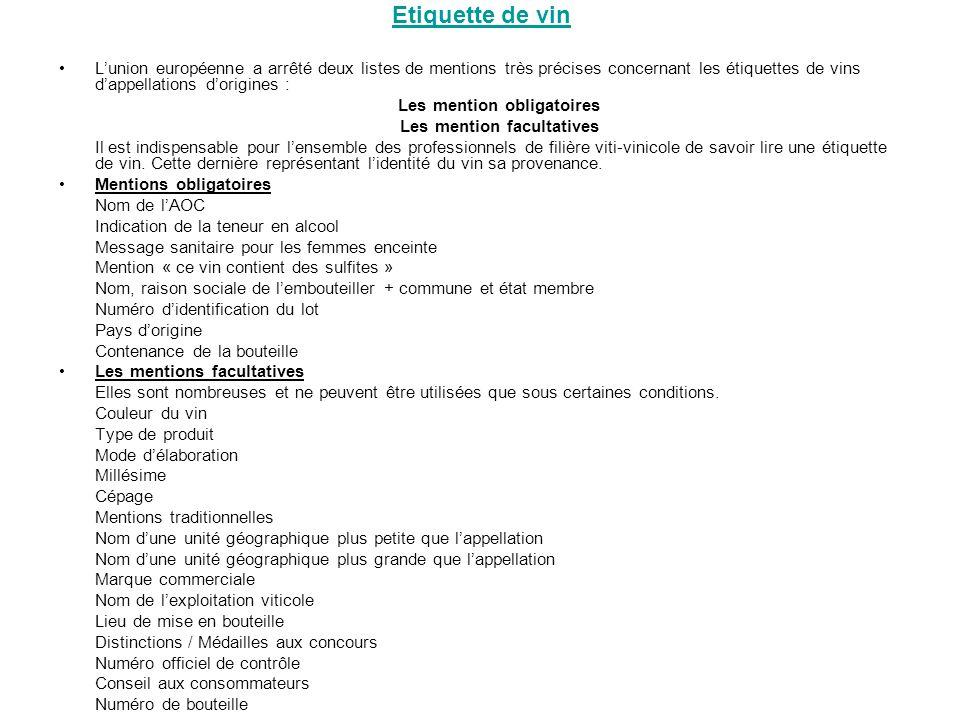 Etiquette de vin Lunion européenne a arrêté deux listes de mentions très précises concernant les étiquettes de vins dappellations dorigines : Les ment