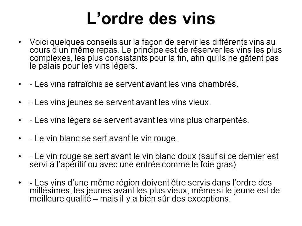 Lordre des vins Voici quelques conseils sur la façon de servir les différents vins au cours dun même repas. Le principe est de réserver les vins les p