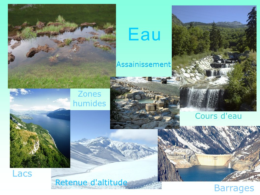Eau Assainissement Cours d'eau Barrages Lacs Zones humides Retenue d'altitude