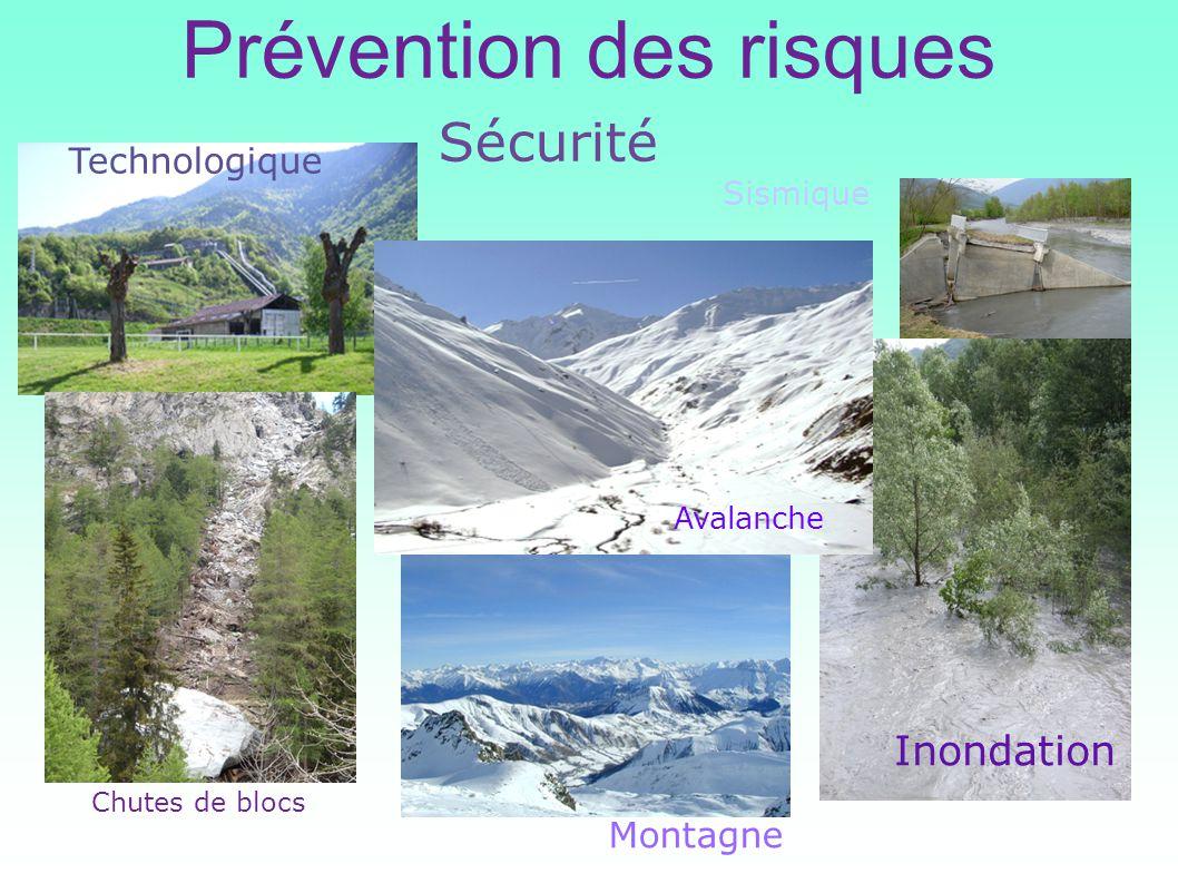 Prévention des risques Chutes de blocs Sécurité Sismique Inondation Technologique Montagne Avalanche