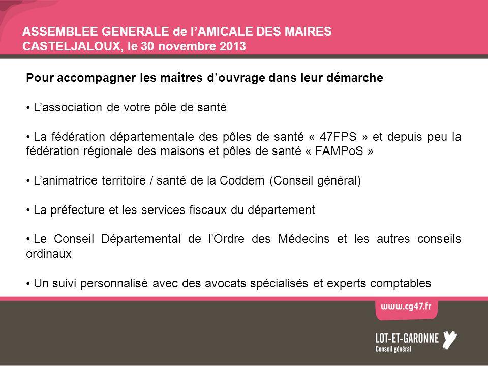 ASSEMBLEE GENERALE de lAMICALE DES MAIRES CASTELJALOUX, le 30 novembre 2013 POLE DE SANTE DE MIRAMONT - DURAS Maîtrise douvrage CC Pays de Duras / Inaugurations le 29 juin 2013 oMSP de Duras : 1 dentiste, 1 podologue, 2 cabinets infirmiers (5 IDE) + CS ponctuelles (1 médecin généraliste, 1 diététicienne, 1 orthoptiste), ASSAD, permanence SSIAD oMSP de Lévignac de Guyenne : 2 médecins généralistes, 1 cabinet infirmiers (3 IDE) + CS ponctuelles (1 diététicienne, 1 orthoptiste), permanences ASSAD et SSIAD Maîtrise douvrage CC Pays de Lauzun / Pose 1° pierre le 16 novembre - Livraison prévue en septembre 2014 oMSP de Miramont de Guyenne : 1 médecin généraliste, 1 cabinet infirmier, 1 dentiste, 1 podologue, 1 diététicienne, + CS ponctuelles gynécologie (MG en réseau), permanence, SSIAD, ASSAD, MSA Compétences transversales : –1 médecin formé à léducation thérapeutique du patient + 1 pharmacienne volontaire –1 MG possédant le DU de gynécologie médicale –5 MG maîtres de stage universitaire –Président du Pôle de santé : Dr Laplanche Densité médicale : 76.58 MG pour 100 000habitants (14 MG dont 9>55ans / 5>60ans) Coût global : 2 200 750 HT dont 67.45% de subventions publiques Possibilité de PTMG à Duras CESP en cours de recrutement ?