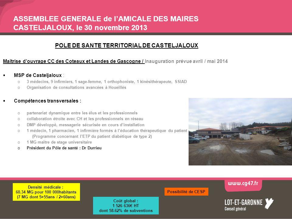 ASSEMBLEE GENERALE de lAMICALE DES MAIRES CASTELJALOUX, le 30 novembre 2013 POLE DE SANTE TERRITORIAL DE CASTELJALOUX Maîtrise douvrage CC des Coteaux