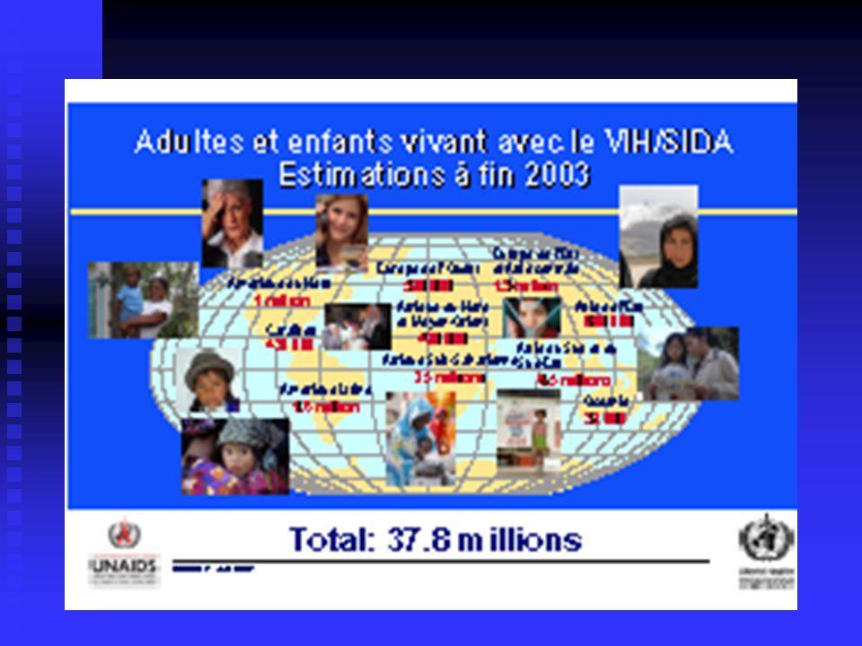 - -On estime à 4.8 millions le nombre de personnes nouvellement infectées par le VIH en 2003 -le VIH a tué 2.9 millions personnes en 2003 -et plus de 20 millions depuis lidentification des premiers cas de SIDA en 1981