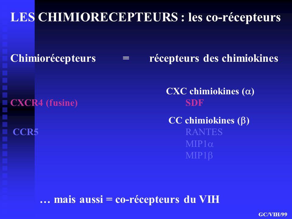 LES CHIMIORECEPTEURS : les co-récepteurs Chimiorécepteurs = récepteurs des chimiokines CXC chimiokines ( ) CXCR4 (fusine) SDF CC chimiokines ( ) CCR5R