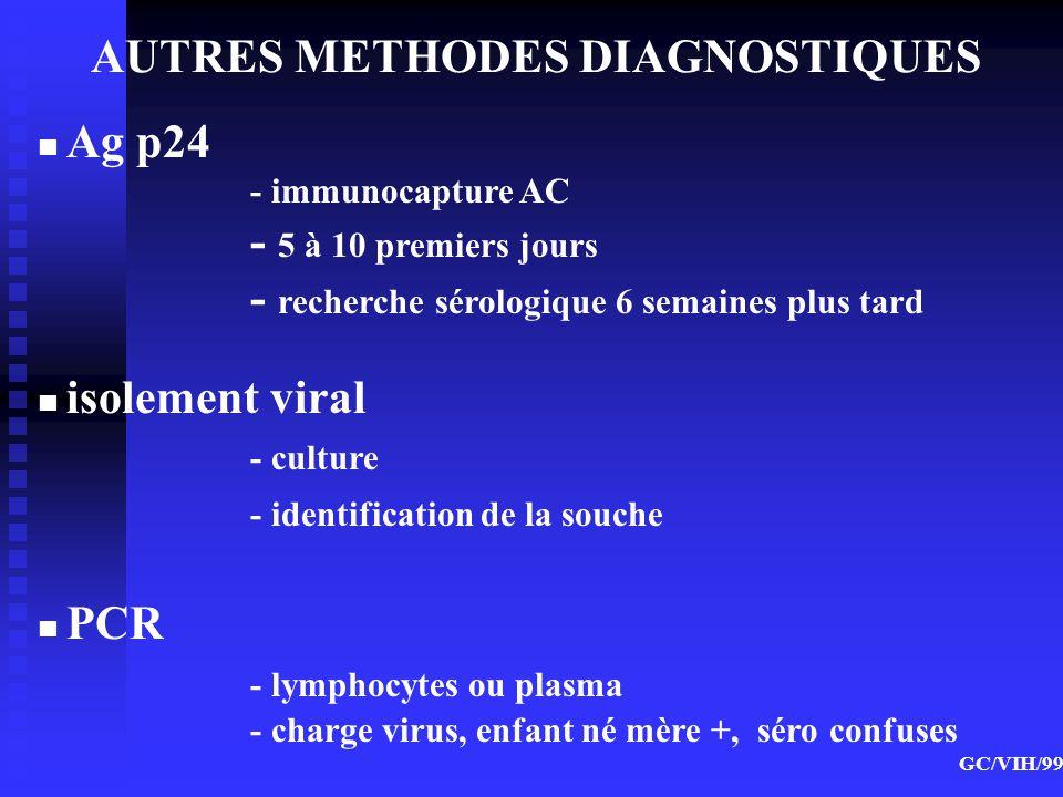 AUTRES METHODES DIAGNOSTIQUES GC/VIH/99 Ag p24 - immunocapture AC - 5 à 10 premiers jours - recherche sérologique 6 semaines plus tard isolement viral