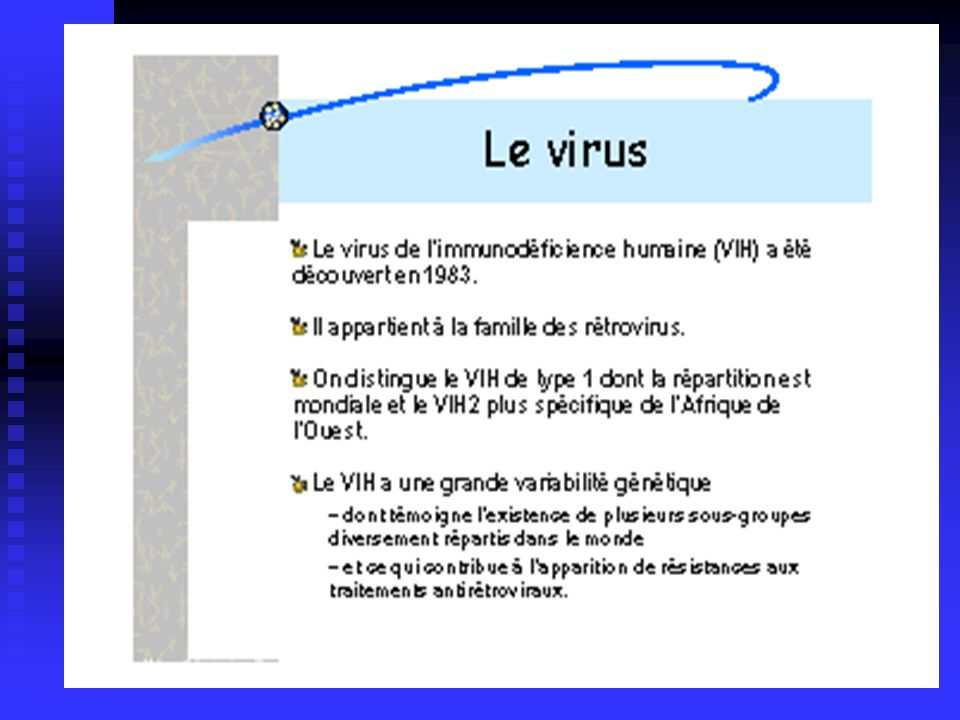 Diagnostic de linfection par le VIH Test de dépistage: Test de dépistage: 1) ELISA détection des anti-corps anti-VIH 2) WESTERN BLOT : détermine un profil sérologique