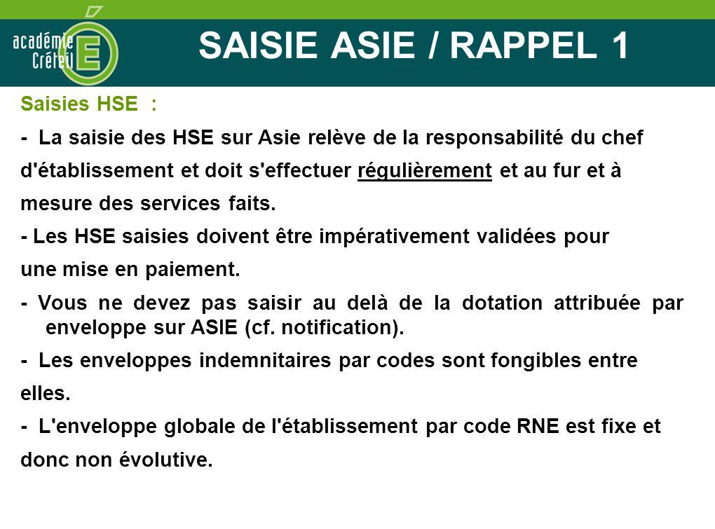 SAISIE ASIE / RAPPEL 1 Saisies HSE : - La saisie des HSE sur Asie relève de la responsabilité du chef d'établissement et doit s'effectuer régulièremen