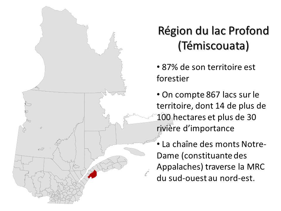Région du lac Profond (Témiscouata) 87% de son territoire est forestier On compte 867 lacs sur le territoire, dont 14 de plus de 100 hectares et plus de 30 rivière dimportance La chaîne des monts Notre- Dame (constituante des Appalaches) traverse la MRC du sud-ouest au nord-est.