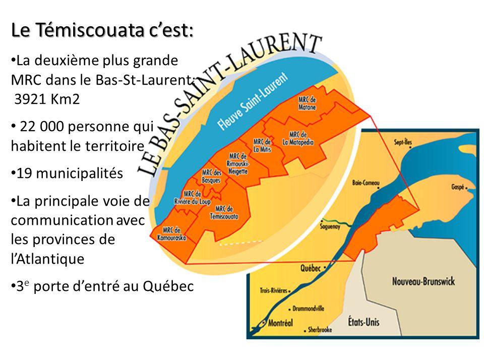 Le Témiscouata cest: La deuxième plus grande MRC dans le Bas-St-Laurent: 3921 Km2 22 000 personne qui habitent le territoire 19 municipalités La principale voie de communication avec les provinces de lAtlantique 3 e porte dentré au Québec